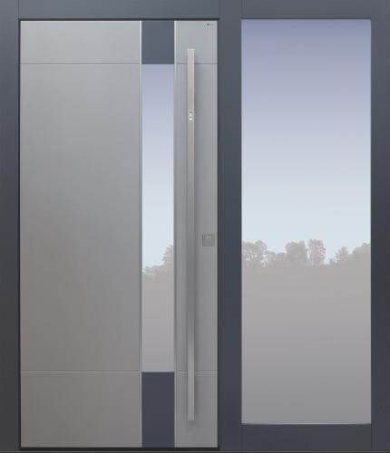 Haustür modern, grau, TOPICcore, Fingerprint, Seitenteil, Sicherheitstür, passivhaustauglich, besser als Alu, Glas