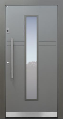 Haustür modern, grau, TOPICcore, Fingerprint, Sicherheitstür, passivhaustauglich, besser als Alu, Glas