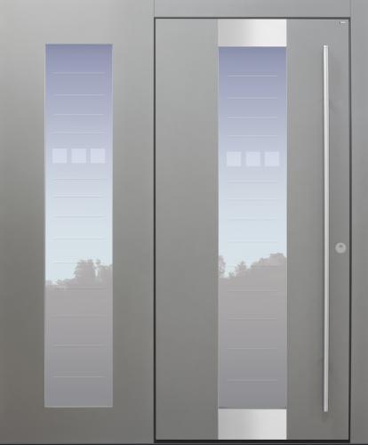 Haustür modern, grau, TOPICcore, Seitenteil, Edelstahl, Sicherheitstür, passivhaustauglich, besser als alu, Glas