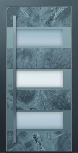 Haustür modern Stein Echtstein anthrazit Sicherheitstür passivhaustauglich Glas