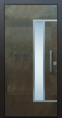 Haustür Cor-Ten bronze braun Keramik Sicherheitstür passivhaustauglich Glas