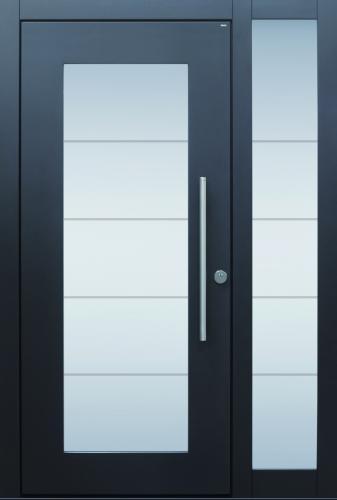 Haustür modern, anthrazit, TOPICcore, Sicherheitstür, passivhaustauglich, besser als alu, Seitanteil, Glas
