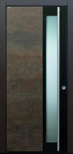 Haustür Cor-Ten bronze anthrazit Keramik Sicherheitstür passivhaustauglich Glas Lichtausschnitt
