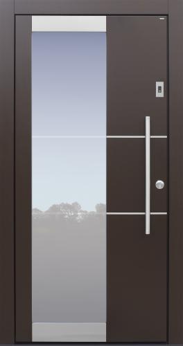Haustür, modern, braun, Fingerprint, Edelstahllisenen, Klarglaslinien, Topiccore, Edelstahl, Sicherheitstür, passivhaustauglich, besser als Alu, Glas