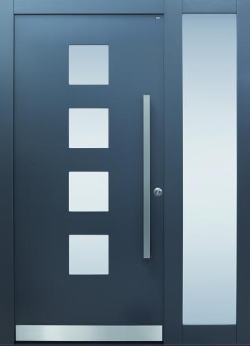 Haustür modern, anthrazit, TOPICcore, Edelstahl, Sicherheitstür, besser als alu, Seitenteil, Glas