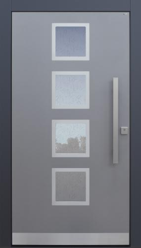 Haustür modern, grau TOPICcore, Edelstahl, Sicherheitstür, passivhaustauglich, besser als Alu, Glas