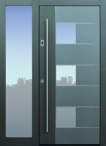 Haustür modern, grau, Fingerprint, Edelsahllisenen, Seitenteil, TOPICcore, Sicherheitstür, passivhaustauglich, besser als Alu, Glas