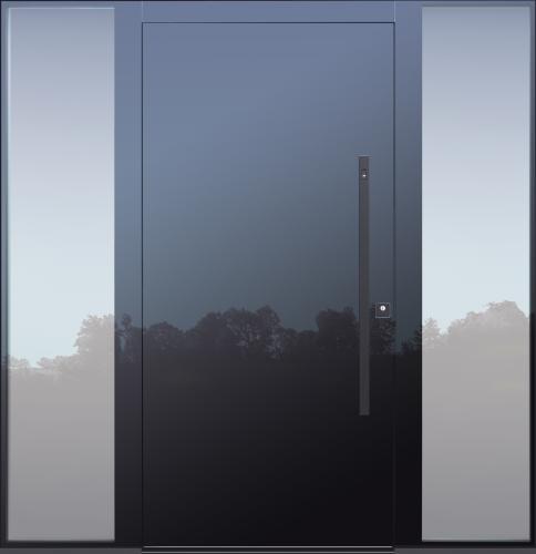 Haustür modern, Stoßgriff in schwarz, anthrazit, Fingerprint, TOPICcore, Seitenteil, Sicherheitstür, passivhaustauglich, besser als Alu, Glas