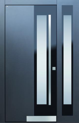 Haustür modern, grau, schwarz, TOPICcore, Sicherheitstür, passivhaustauglich, besser als alu, Seitenteil, Glas