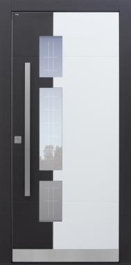 Haustür modern, anthrazit, TOPICcore, Sicherheitstür, passivhaustauglich, besser als Alu, Glas, Glasmotiv