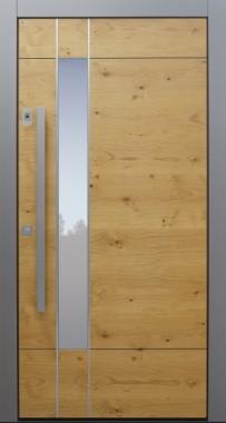 Haustür modern, Holz, Eiche astig, Edelstahl, Sicherheitstür, passivhaustauglich, besser als Alu, Glas