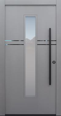 Haustür grau mit Option Lisenen, Stoßgriff und Rosette schwarz Modell A483-T