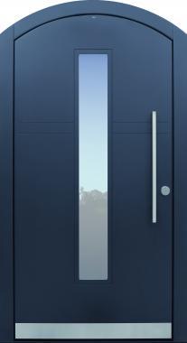 Haustür modern, anthrazit, Segmentbogen, Fräsungen, TOPICcore, Sicherheitstür, passivhaustauglich, besser als Alu, Glas