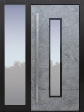 Haustür modern, Stein, Himalayastein, grau, Fingerprint, TOPICcore, Seitenteil, Sicherheitstür, passivhaustauglich, besser als Alu, Glas
