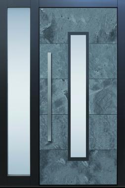 Haustür modern anthrazit Echtstein, Stein, Himalayastein Sicherheitstür passivhaustauglich TOPICcore besser als alu Seitenteil Glas