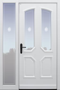 Haustür klassisch weiß mit Option Querfries unten mit Glasmotiv MRS1 auf Kundenwunsch mit Seitenteil B1 Modell A96-T1