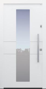 Haustür modern, weiß, TOPICcore, Edelstahl, Sicherheitstür, besser als alu, Glas