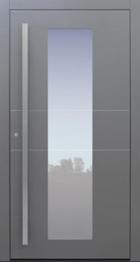 Haustür grau mit Edelstahllisenen und satinierte Glaslinien auf Kundenwunsch mit Option Designpaket Modell B11-T1