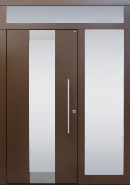 Haustür modern, braun, TOPICcore, Edelstahl, Seitenteil, Oberlichte, Sicherheitstür, passivhaustauglich, besser als Alu, Glas