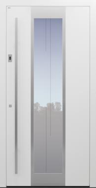 Haustür weiß mit Glasmotiv MS7 mit Edelstahlglasumrandung auf Kundenwunsch mit Fingerprint Modell B11-T2