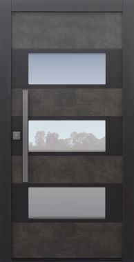Haustür modern, TOPICcore, grau, Exterior, Prado Agate Grey, Sicherheitstür, passivhaustauglich, besser als Alu, Glas