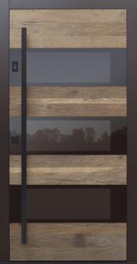 Haustür Altholz mit Optionen Stoßgriff und Rosette schwarz mit Fingerprint Modell B17-T3