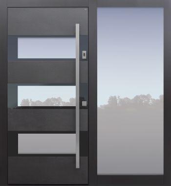 Haustür modern, Keramik, Anthrazit, dunkelgrau, Sicherheitstür, passivhaustauglich, besser als Alu, Glas, Seitenteil, Fingerprint