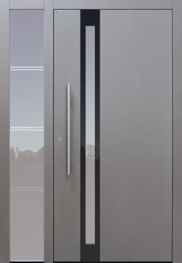 Haustür grau mit Glasmotiv MS4 mit Seitenteil B1 Modell B24-T2