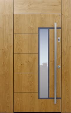 Haustür modern, Holz, Eiche, Sicherheitstür, Fingerprint, passivhaustauglich, besser als Alu, Glas