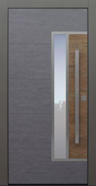 Haustür modern, Holz, Altholz Eiche, Keramik, dunkelgrau, Koshi dunkelgrau, Sicherheitstür, passivhaustauglich, besser als Alu, Glas