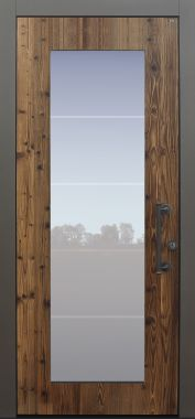 Haustür modern, Holz, Fichte, Altholz, Sicherheitstür, passivhaustauglich, besser als Alu, Glas