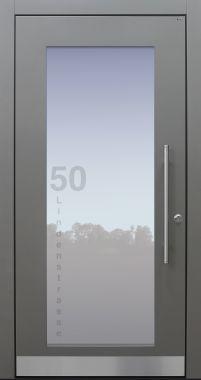 Haustür modern, TOPICcore, hellgrau, Adresse, Sicherheitstür, passivhaustauglich, besser als Alu, Glas