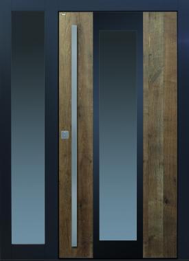 Haustür modern, anthrazit, Holz, Altholz, Eiche, mit Seitenteil, über 300 Jahre, Sicherheitstür, passivhaustauglich, TOPICcore, besser als Alu, Edelstahl, Glas, Parsol grau