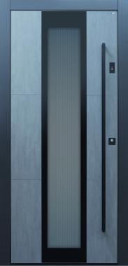 Haustür modern, anthrazit, grau, Keramik, Stoßgriff in schwarz, Sicherheitstür, passivhaustauglich, besser als Alu, Glas