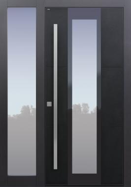 Haustür modern, Keramik, Koshi nero, Dunkelgrau, Sicherheitstür, passivhaustauglich, besser als Alu, Glas, Seitenteil