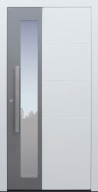 Haustür weiß mit Option 2. Farbe und Rosette flächenbündig Modell B37-T1