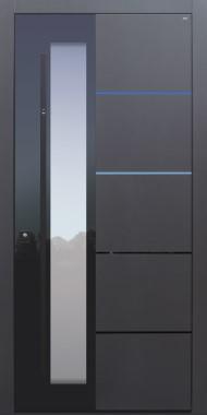 Haustür anthrazit mit Option Lisenen PVD poliert schwarz mit Stoßgriff schwarz und Fingerprint Modell B37-T2