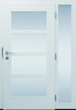 Haustür modern, Innenansicht, hellgrau, TOPICcore, Sicherheitstür, passivhaustauglich, besser als alu, Seitenteil, Glas