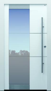 Haustür modern, TOPICcore, weiß, Sicherheitstür, passivhaustauglich, besser als Alu, Glas, Edelstahlapplikationen