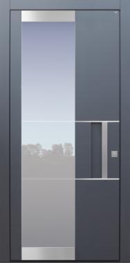 Haustür modern, anthrazit, TOPICcore, Schalengriff, Edelstahl, Sicherheitstür, passivhaustauglich, besser als Alu, Glas