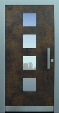Haustür modern, Exterior, Patina Bronze, Sicherheitstür, passivhaustauglich, besser als Alu, Glas