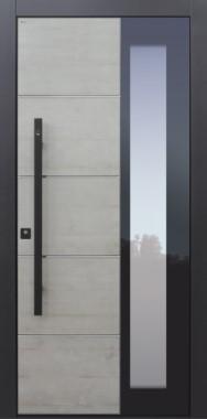 Haustür modern, Fingerprint, grau, schwarz, Echtbeton, TOPICcore, Stoßgriff in schwarz, Sicherheitstür, passivhaustauglich, besser als Alu, Glas