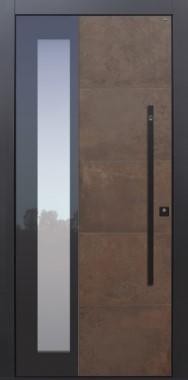 Haustür modern, Keramik, Lamiera, Stoßgriff schwarz, Fingerprint, Sicherheitstür, passivhaustauglich, besser als Alu, Glas