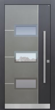 Haustür modern, anthrazit, Edelstahl, HFM, Sicherheitstür, passivhaustauglich, besser als Alu, Glas