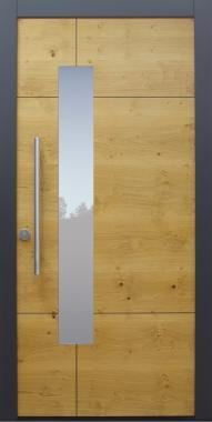 Haustür modern, Holz, Eiche astig, Sicherheitstür, besser als Alu, Glas