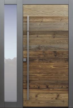 Haustür modern, Holz, Fichte, Altholz Fichte, Altholz, Sicherheitstür, passivhaustauglich, besser als Alu, Glas, Seitenteil, Fingerprint