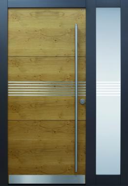 Haustür modern, anthrazit, Holz, Edelstahl, Sicherheitstür, passivhaustauglich, besser als alu, Seitenteil, Glas