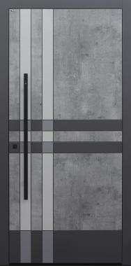 Haustür grau mit Design B919 Karo mit Stoßgriff schwarz und Fingerprint Modell B9-T2