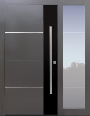 Haustür modern, grau, schwarz TOPICcore, mit Seitenteil, Sicherheitstür, passivhaustauglich, besser als alu, Glas