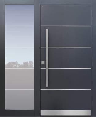 Haustür modern, anthrazit, mit Seitenteil, TOPICcore, Edelstahl, Sicherheitstür, passivhaustauglich, besser als Alu, Glas
